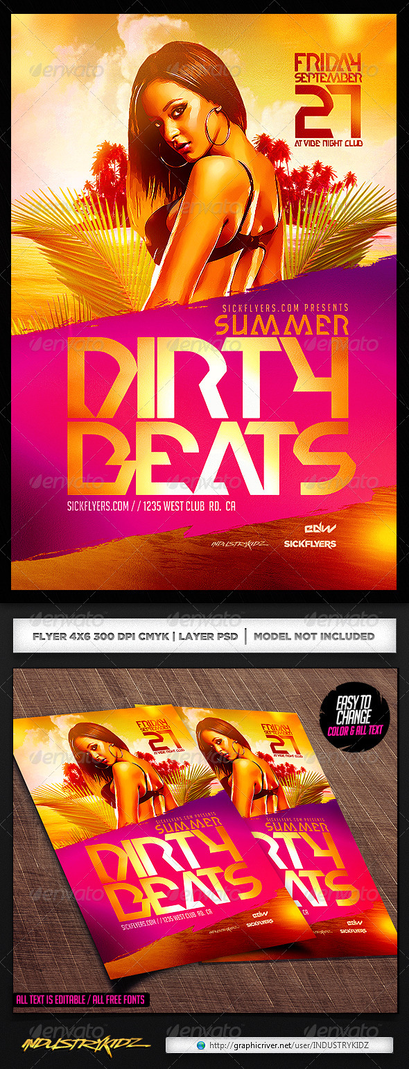 GraphicRiver Summer Dirty Beats Flyer Template PSD 7494259