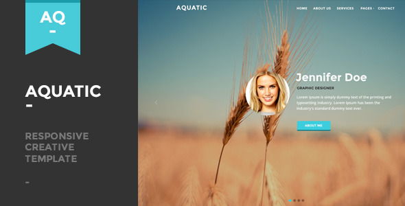 Aquatic Responsive Creative One Page Template