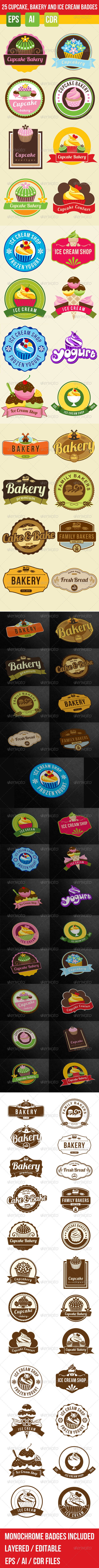 GraphicRiver 25 Bakery Cupcake and Ice Cream Badges Bundle 7495126