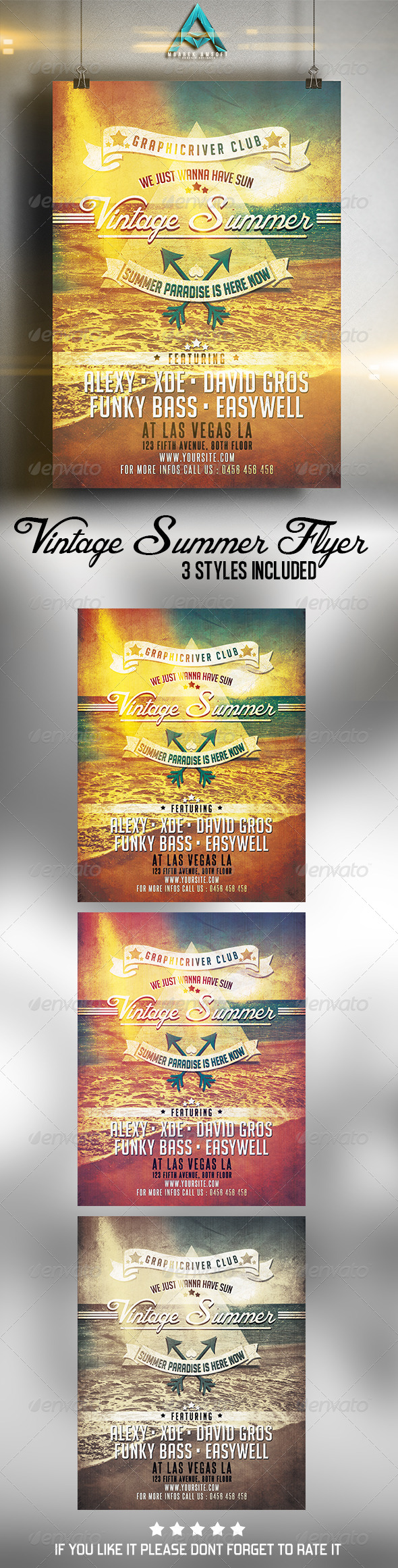 GraphicRiver Vintage Summer Flyer 7495645