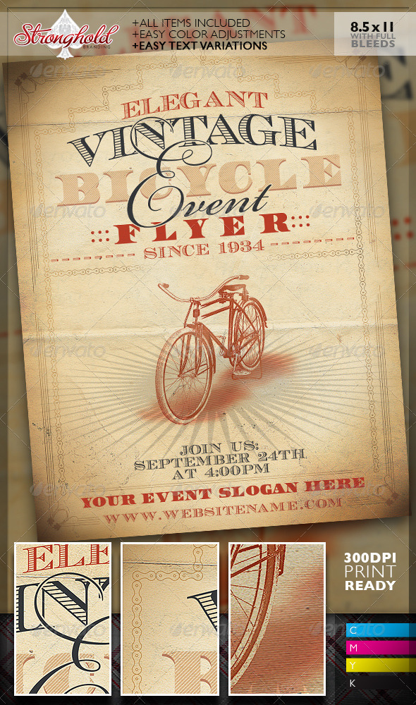 GraphicRiver Vintage Bicycle Event Flyer Template 7496311