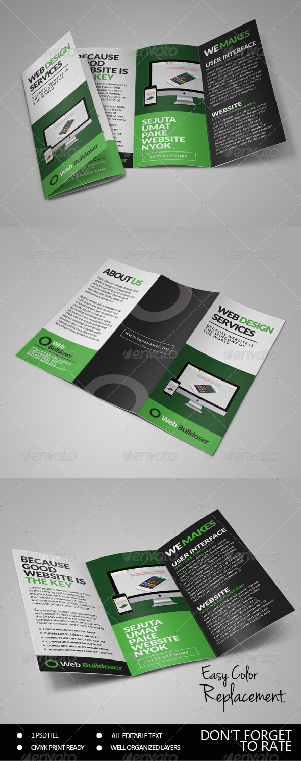 GraphicRiver Premium Web Design Trifold Brochure 7496425