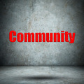 Community on concrete wall