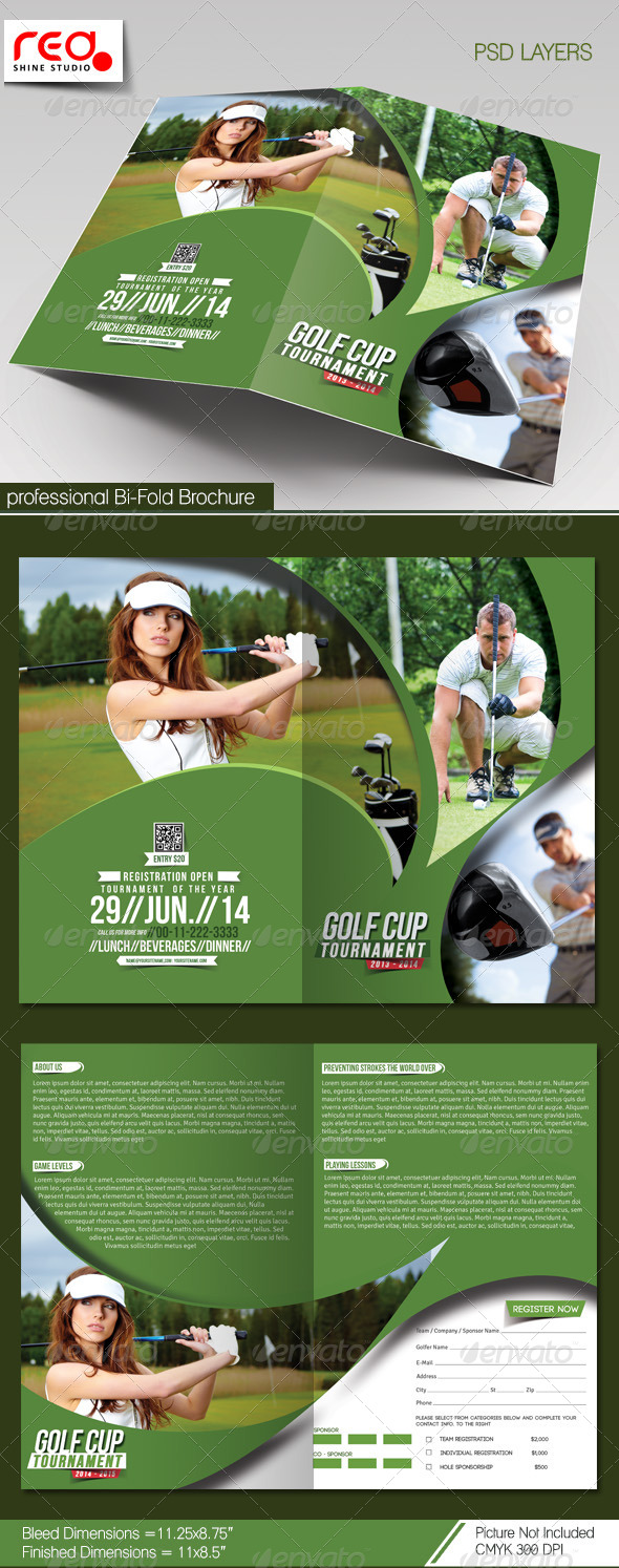 GraphicRiver Golf Cup Tournament Bi-fold Brochure Template 7496701