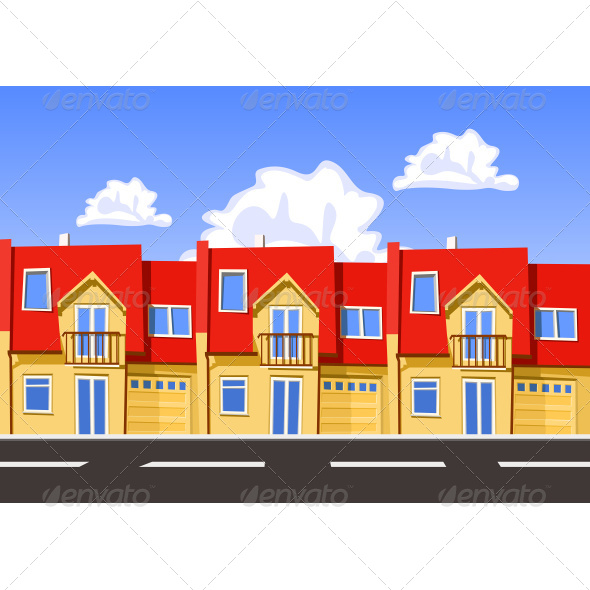 GraphicRiver Houses Built In A Row Next To The Road 7496893