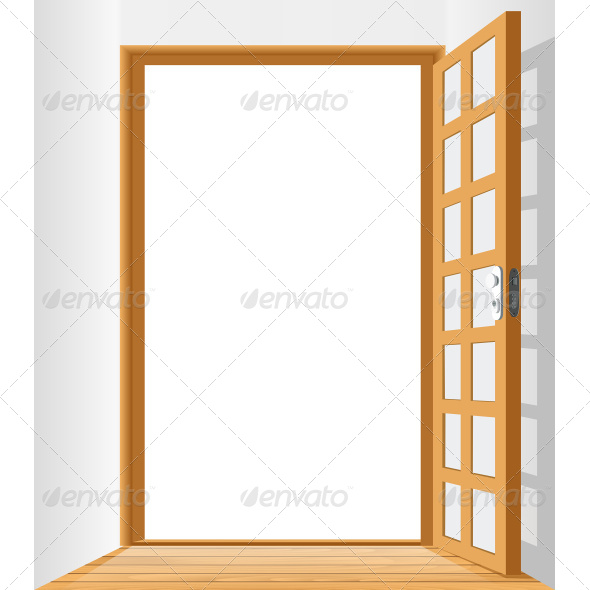 GraphicRiver Open Door To Area With White Background 7496963