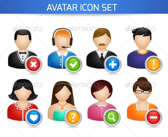 GraphicRiver Social Avatar Icons Set 7496979
