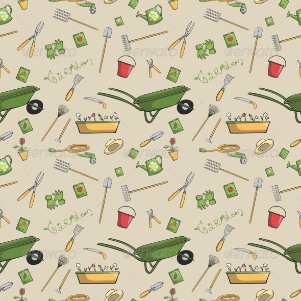 GraphicRiver Garden Tools Seamless Pattern 7497009