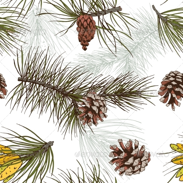 GraphicRiver Pine Branches Pattern 7497070