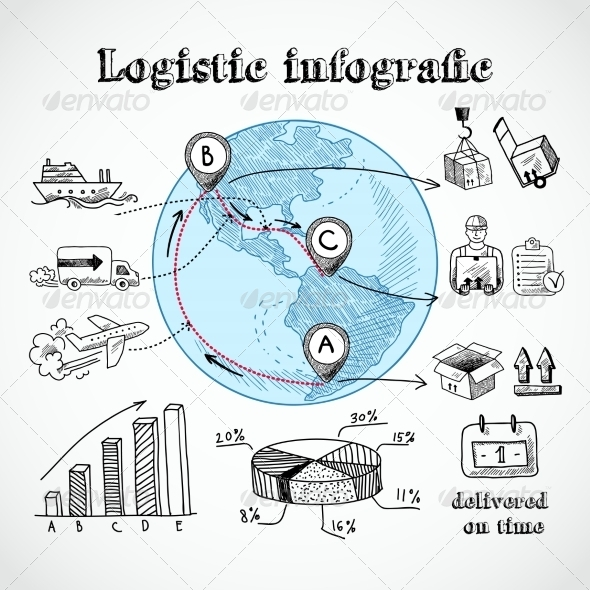 GraphicRiver Logistic Globe Infographic 7497098
