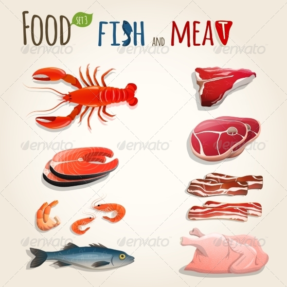 GraphicRiver Fish and Meat Set 7497178