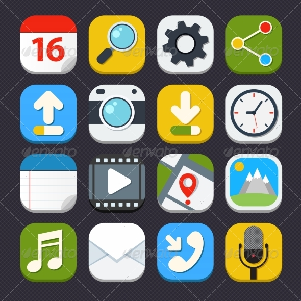 GraphicRiver Mobile Applications Icons 7497229