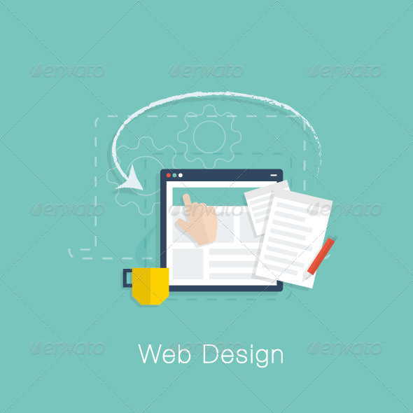 GraphicRiver Flat Web Design Project Vector Concept 7497259