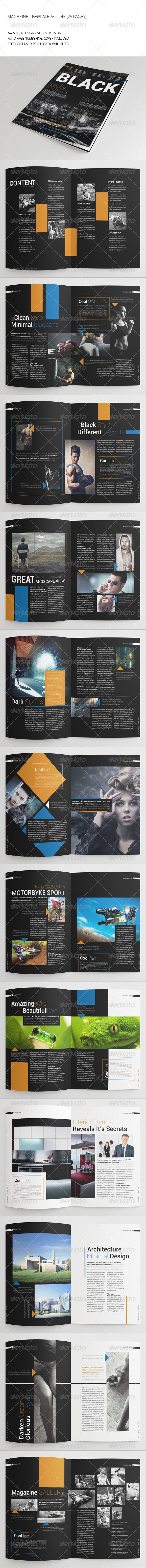 GraphicRiver 25 Pages Black Magazine Vol45 7497706