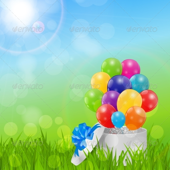Color Glossy Balloons Birthday Card Background