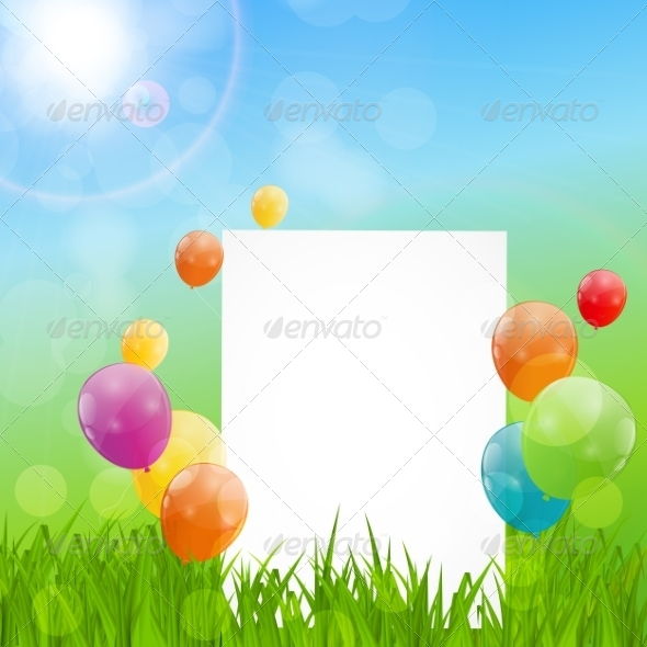 GraphicRiver Color Glossy Balloons Birthday Card Background 7497831