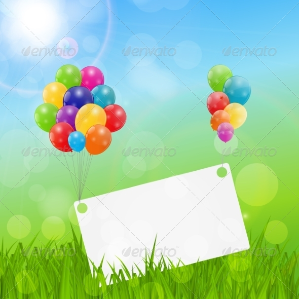 GraphicRiver Color Glossy Balloons Birthday Card Background 7497836