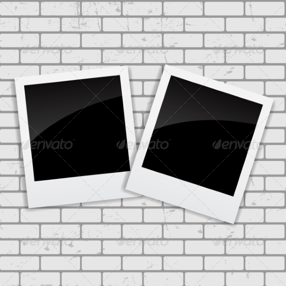 GraphicRiver Instant Photos on Grunge Brick Background Vector 7497968