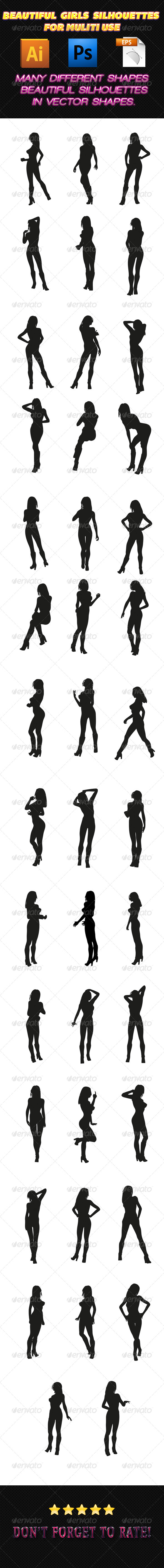 GraphicRiver Girls Silhouettes 01 7497971