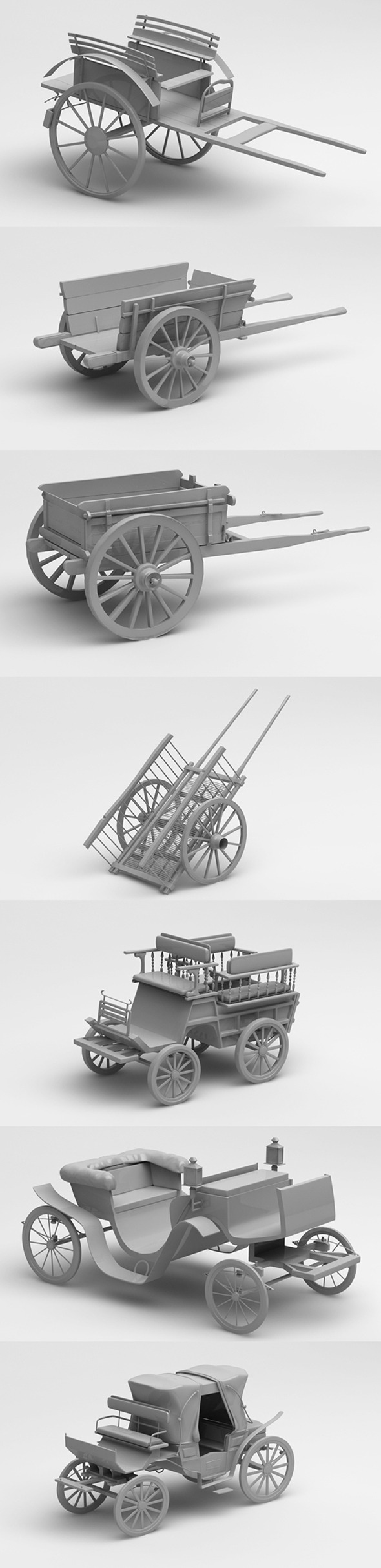 3D old cars and chariots
