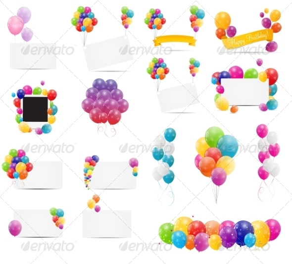 GraphicRiver Color Glossy Balloons Card Mega Set Vector 7497998