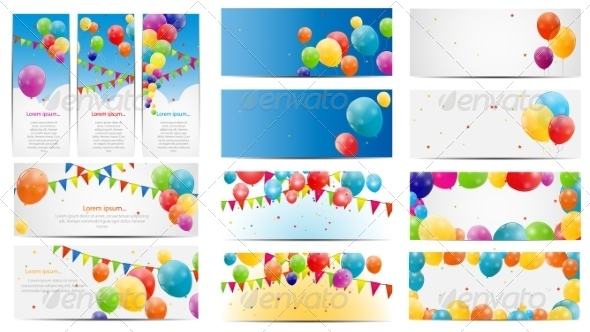 GraphicRiver Color Glossy Balloons Card Mega Set Vector 7498015
