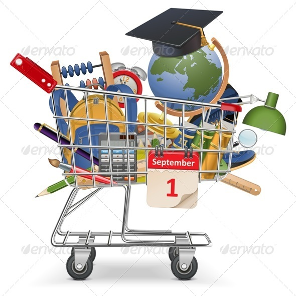 GraphicRiver Vector Trolley with School Supplies 7498018
