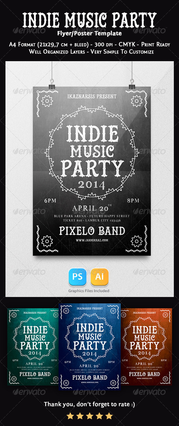 GraphicRiver Indie Music Party Flyer Template 7498587