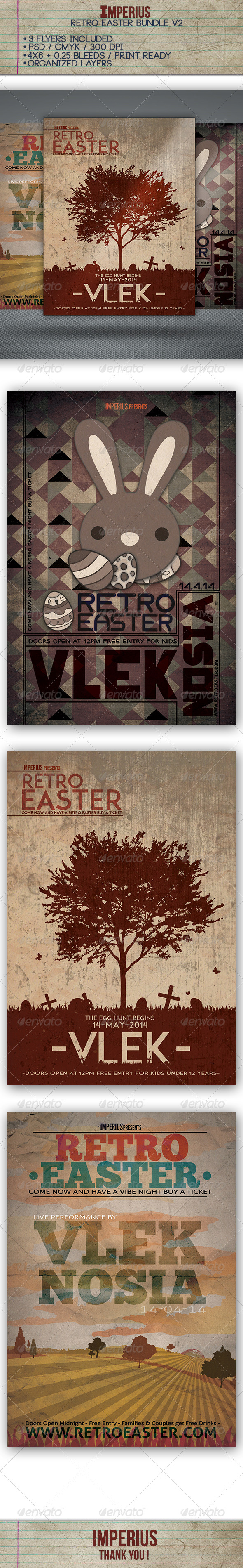 Retro Easter Bundle V2 - Flyers Print Templates
