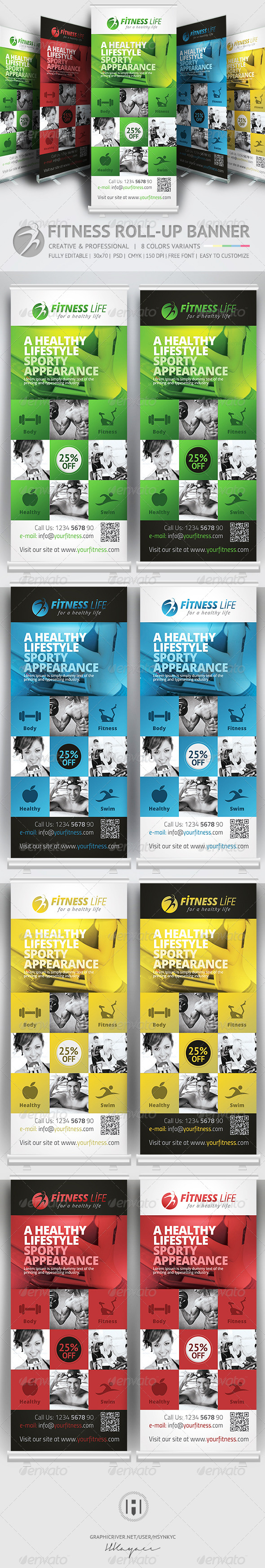 GraphicRiver Fitness Roll Up Banner 7499006