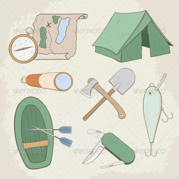 GraphicRiver Camping Icons 7499107