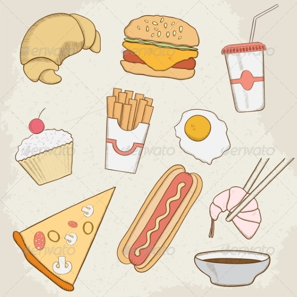 GraphicRiver Food and Drink Vector Hand Drawn Icons 7499123