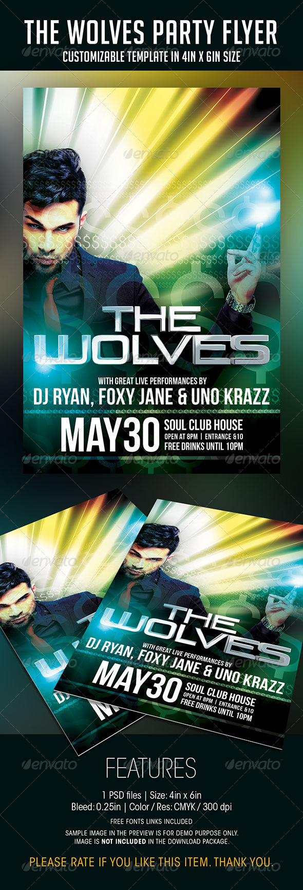 GraphicRiver The Wolves Party Flyer 7499185