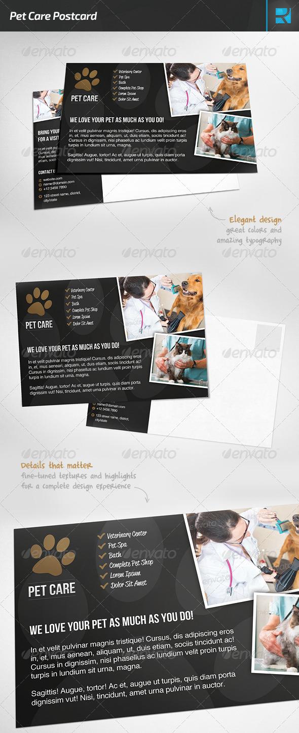 GraphicRiver Pet Care Postcard 7494286