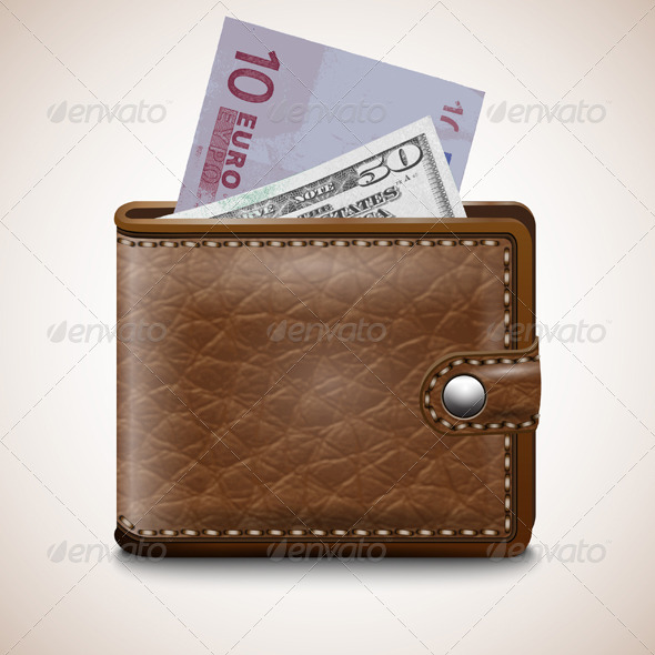 GraphicRiver Leather Wallet with Dollar USA Euro 7499208