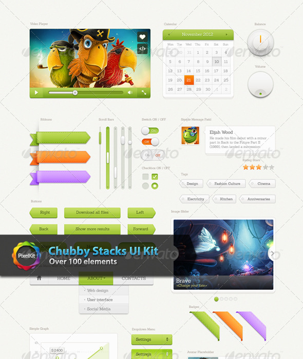 GraphicRiver Chubby Stacks UI Kit 7436529