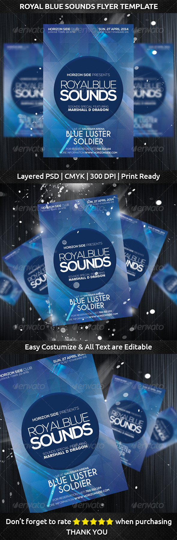 Royal Blue Sounds Flyer Template