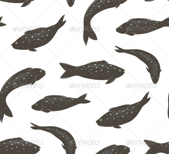 GraphicRiver Fish Black and White Seamless Pattern 7499642