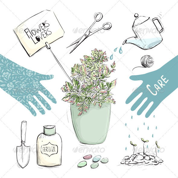 GraphicRiver Home Plants or Gardening Tools Collection 7499652