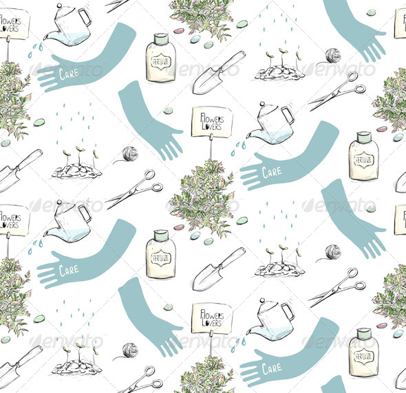 Home Plants or Gardening Seamless Pattern
