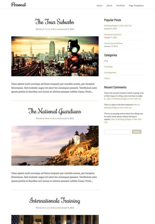 Personal - WordPress Blogging Theme