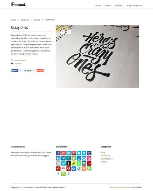 Personal - WordPress Blogging Theme