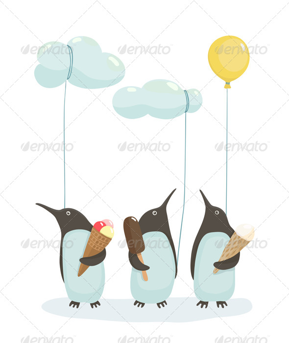 GraphicRiver Penguins with Ice Cream 7499720