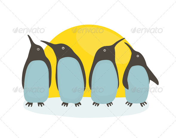 GraphicRiver Penguins and Sun 7499724