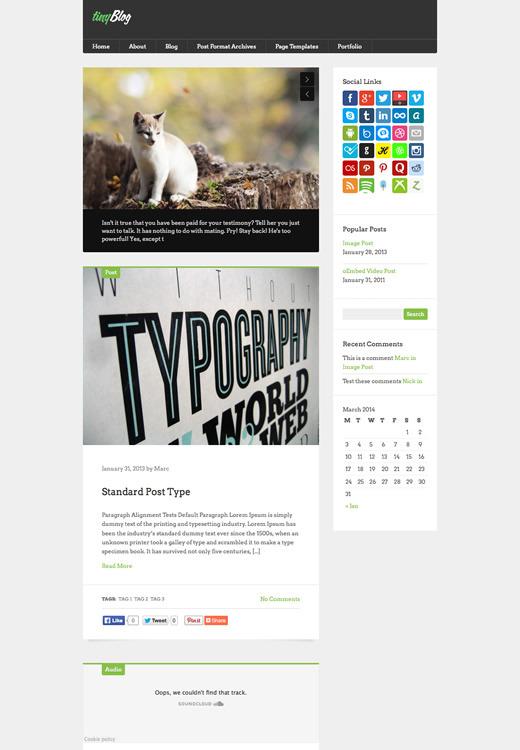 tinyBlog - WordPress Tumblog Theme