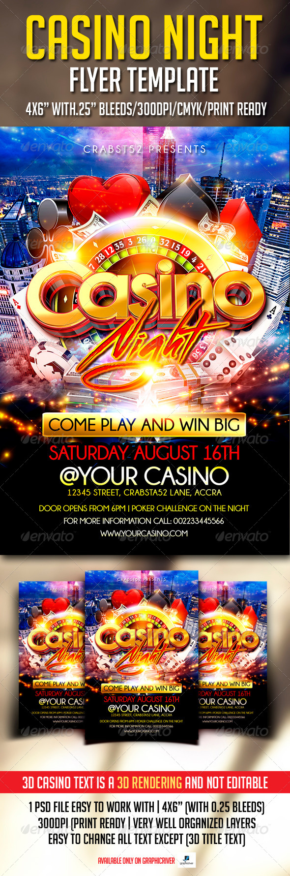 GraphicRiver Casino Night Flyer Template 7499771