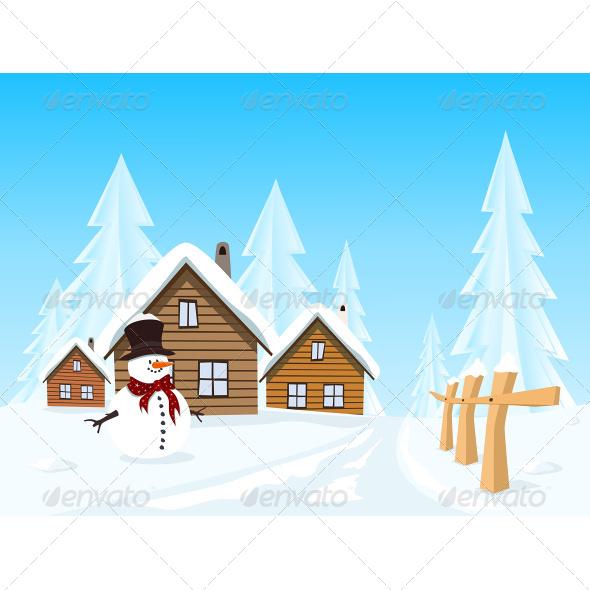 GraphicRiver Village in Winter Landscape 7499775