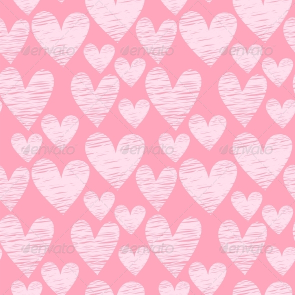 GraphicRiver Pink Heart Seamless Pattern 7500072