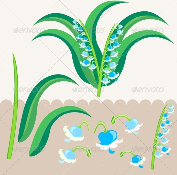 GraphicRiver Lily of the Valley Scrapbooking Elements 7500106