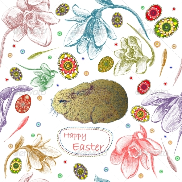 GraphicRiver Seamless Pattern with Easter Eggs and Rabbit 7500270
